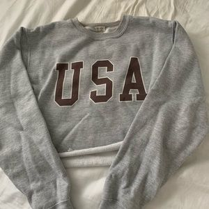 John Galt USA cropped crewneck